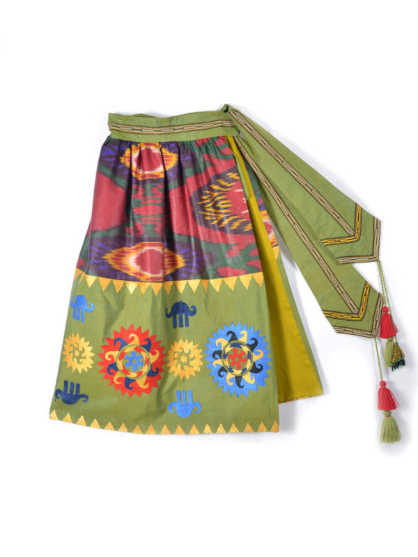Hand-Embroidered Ikat Wrap Skirt IK107