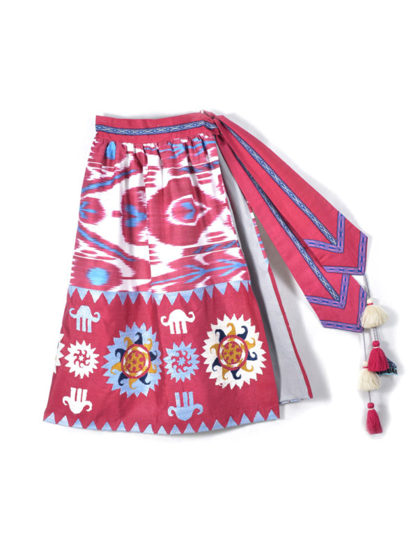 Hand Embroidered Ikat Skirt Pink