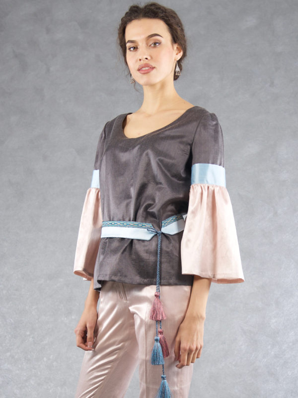 Bell Sleeve Top Grey / Pink / Blue