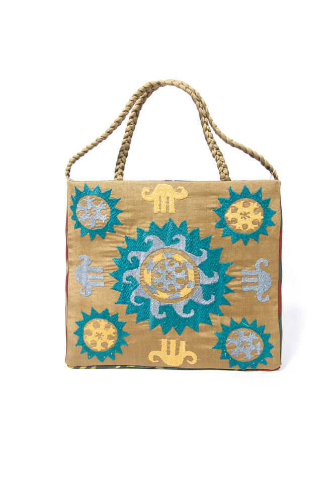 Braided Embroidered Square Bag