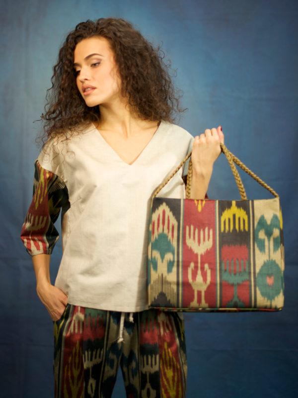 Braided Ikat Square Bag