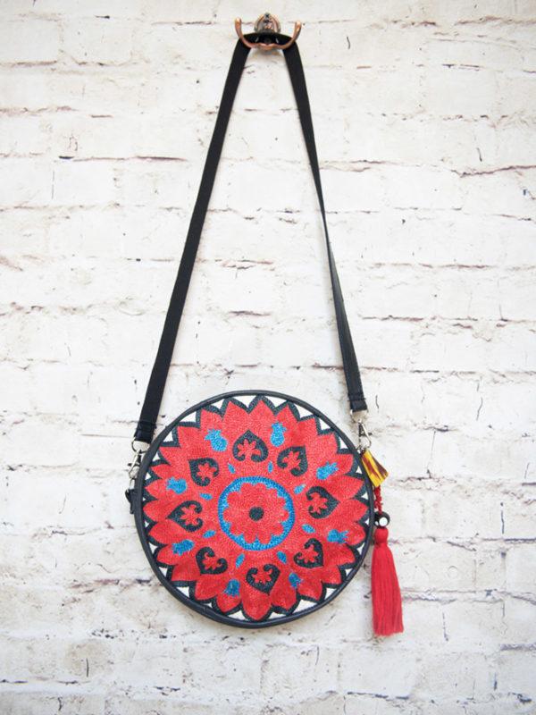Circular Suzani Bag Red Flower