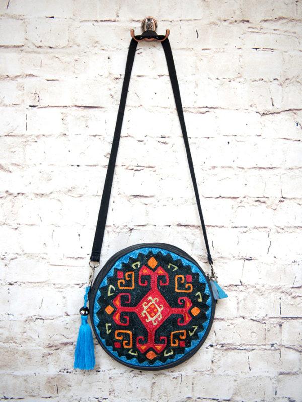 Circular Embroidered Suzani Bag | Blue Cross Design