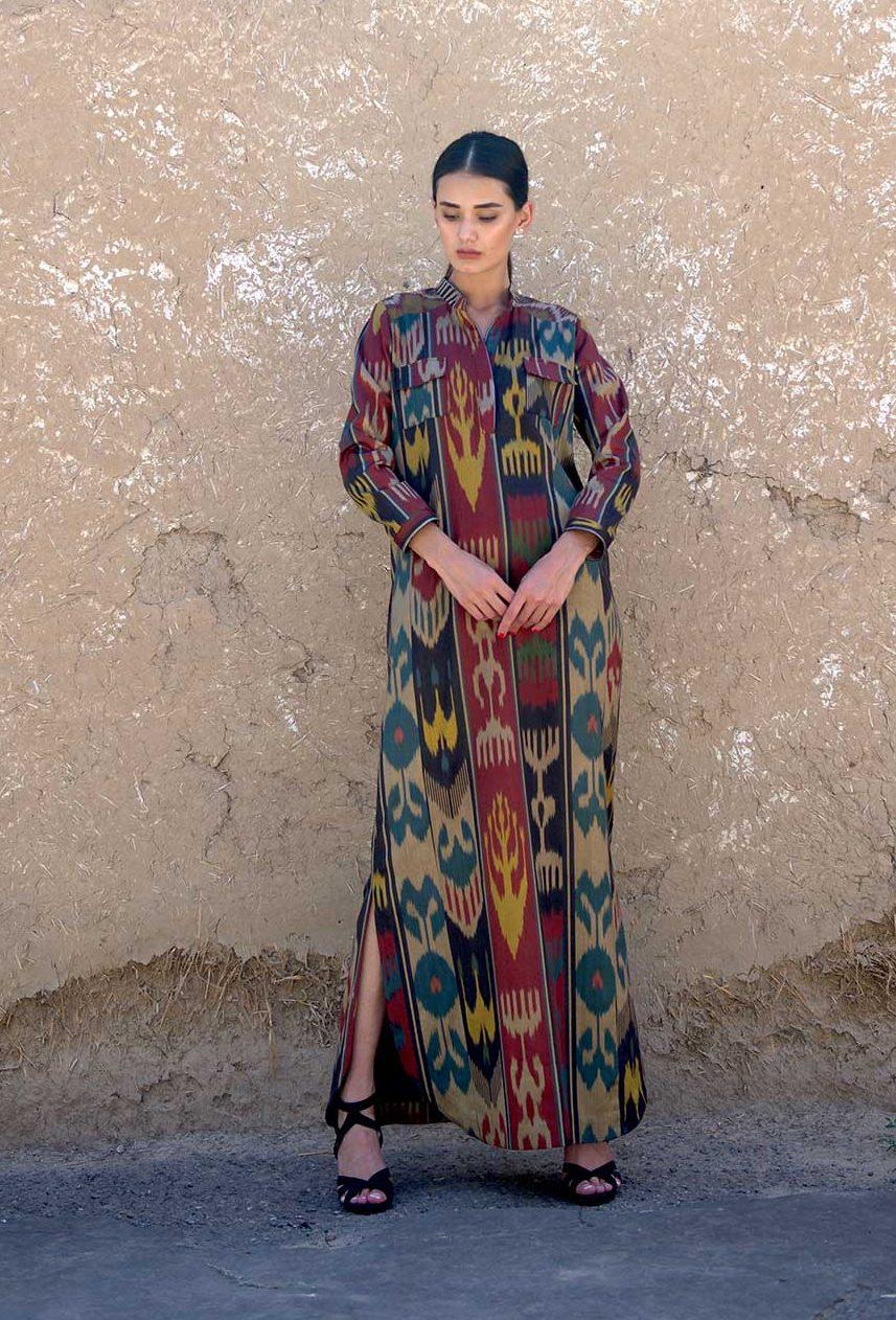 Khadija Silk Ikat Dress IK021