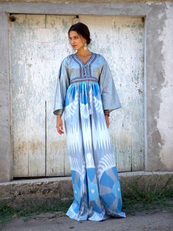 Ayesha Maxi Kimono Dress Blue