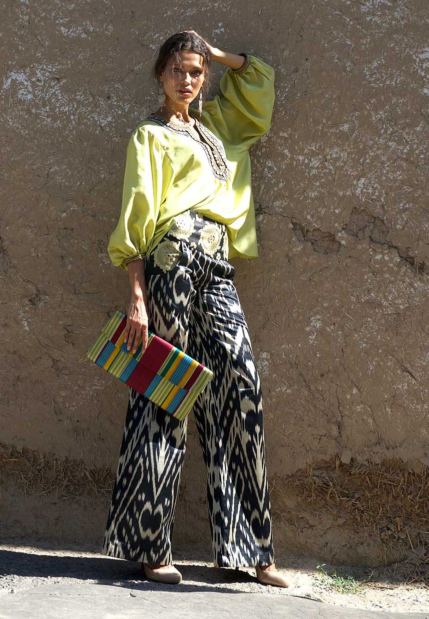 Embroidered Ikat Wide-Leg Pants
