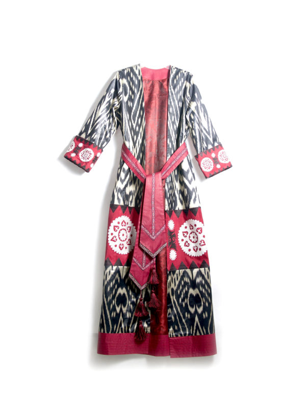 Embroidered Ikat Kaftan with Sash