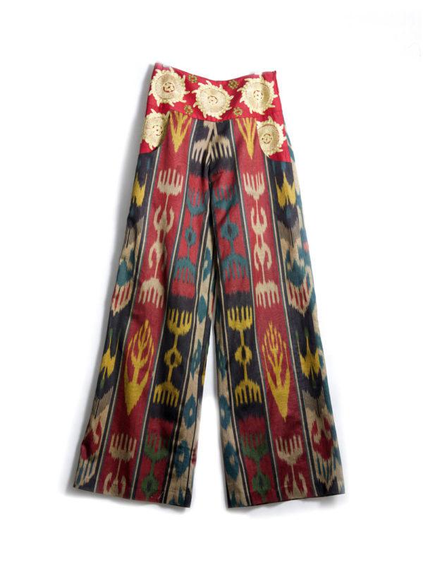 Ikat Embroidered Pants