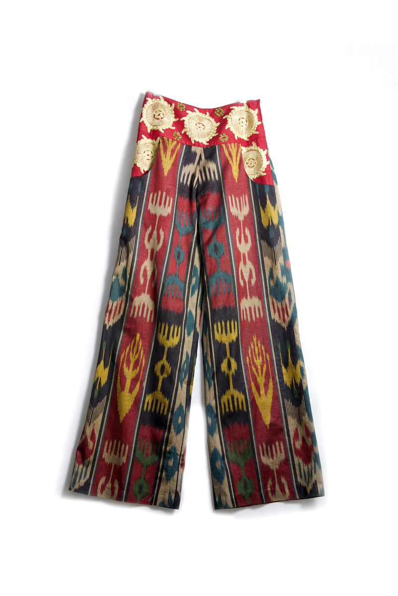 Ikat Embroidered Pants