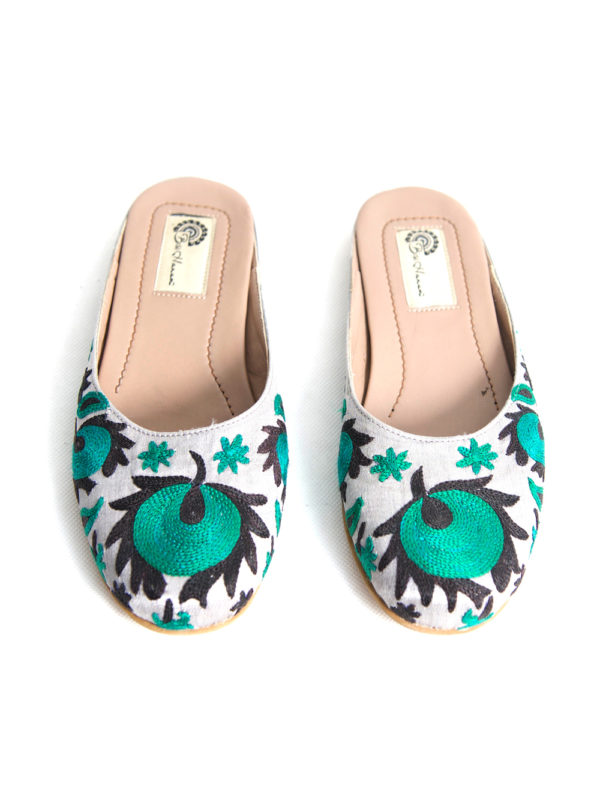 Suzani Slipper | Green Flower