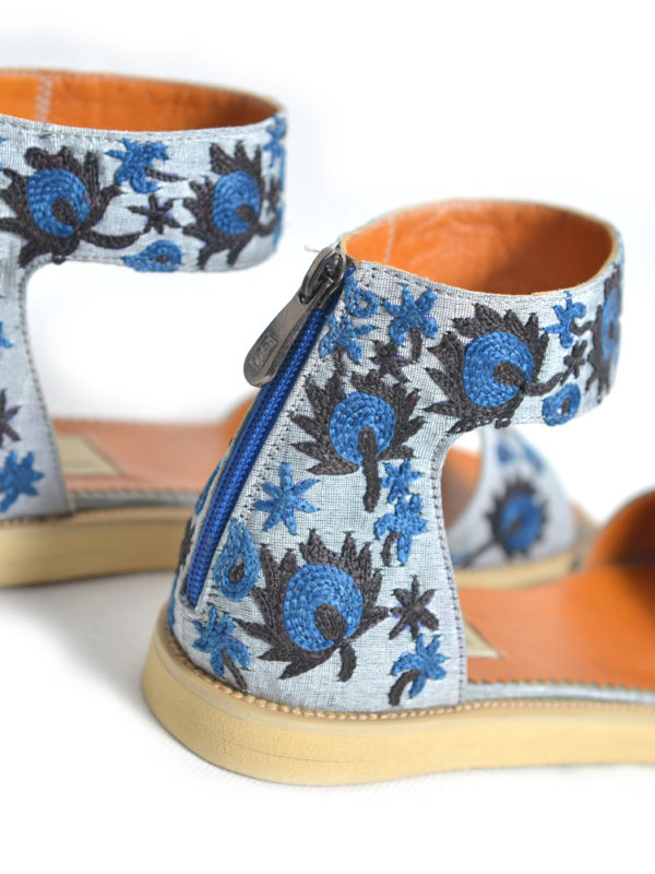 Hand Embroidered Suzani Sandal Blue Flower
