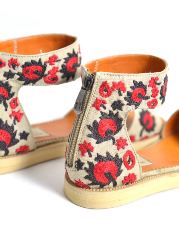 Hand Embroidered Suzani Sandal Red Flower