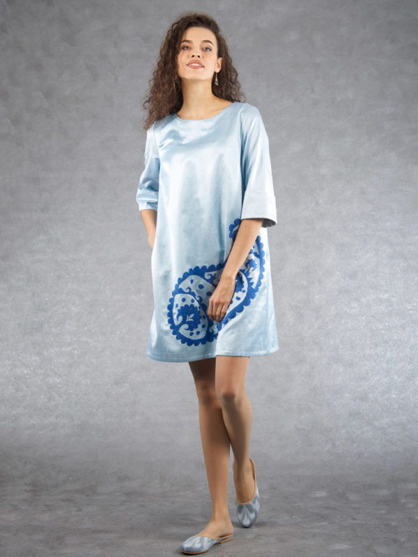Embroidered Ikat Sleeve Dress Blue Pepper