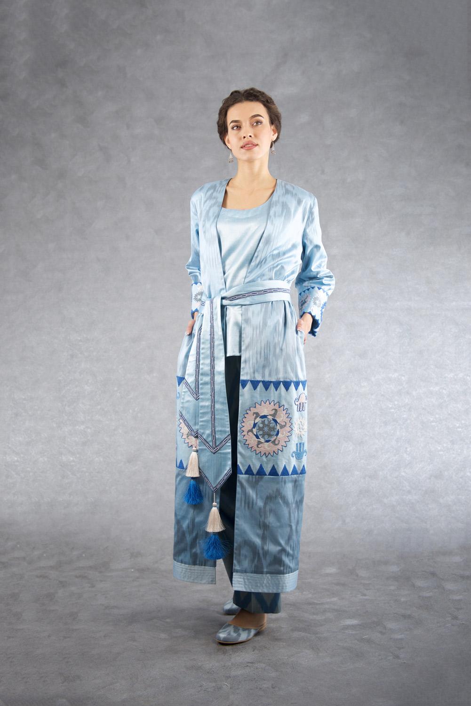 Ikat Embroidered Robe IK510