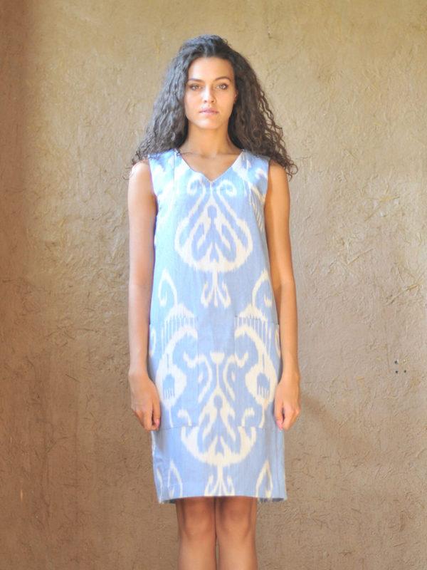 Short Pocket Dress Blue
