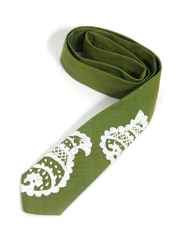Men's Embroidered Tie | Green