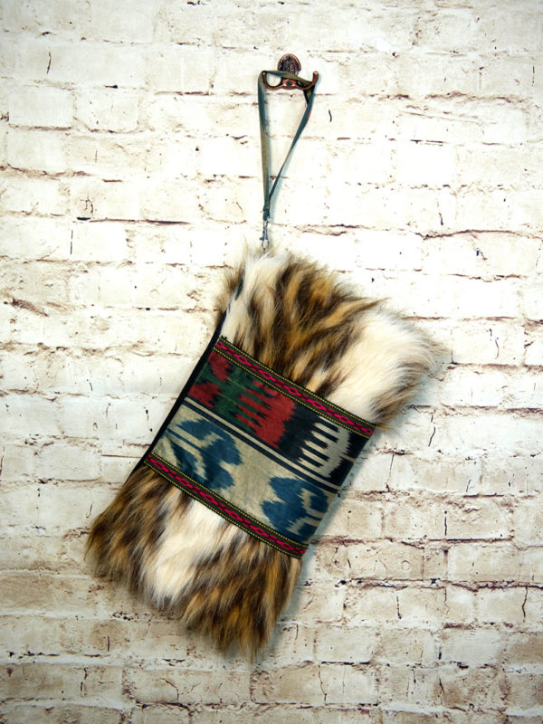 Ikat Clutch with Fur Ik021