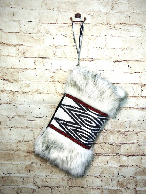 Ikat Clutch with Faux Fur IK497