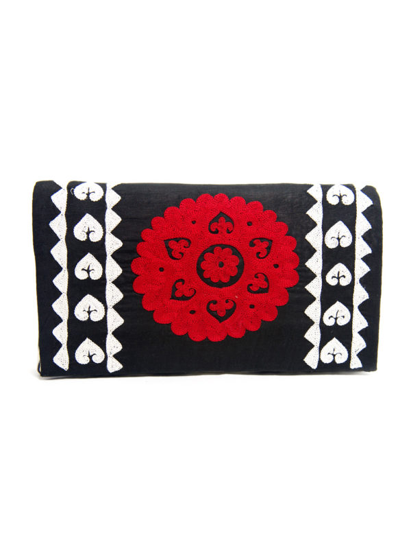 Embroidered Suzani Clutch Red Medallion on Black