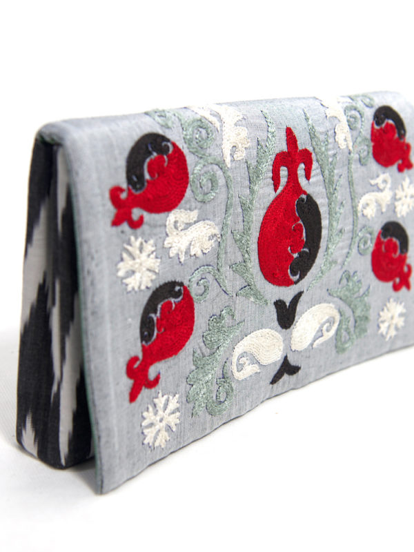 Embroidered Suzani Clutch Red Pomegranate on Grey