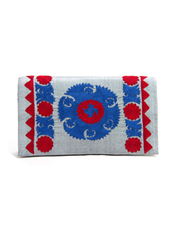 Hand Embroidered Suzani Clutch | Blue Medallion on Grey