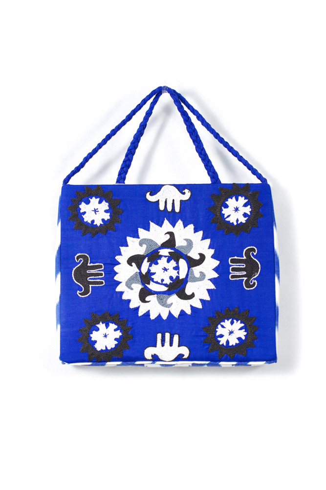Embroidered Square Bag with Braids IK492
