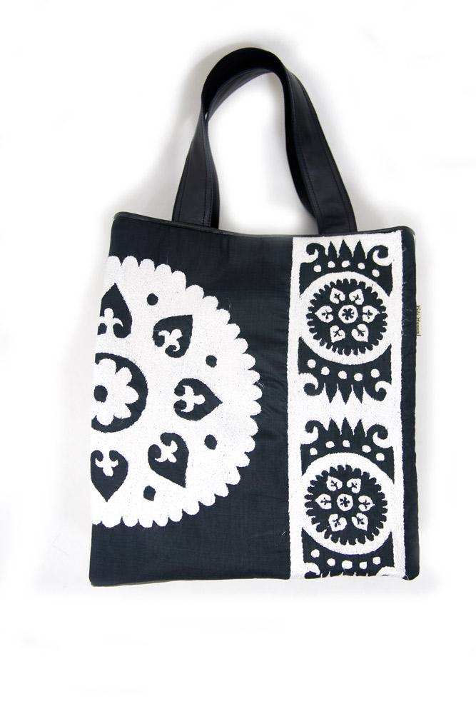 Suzani Tote Black and White
