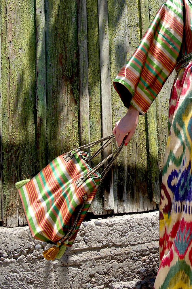 Ikat Bag with Tassels IK553