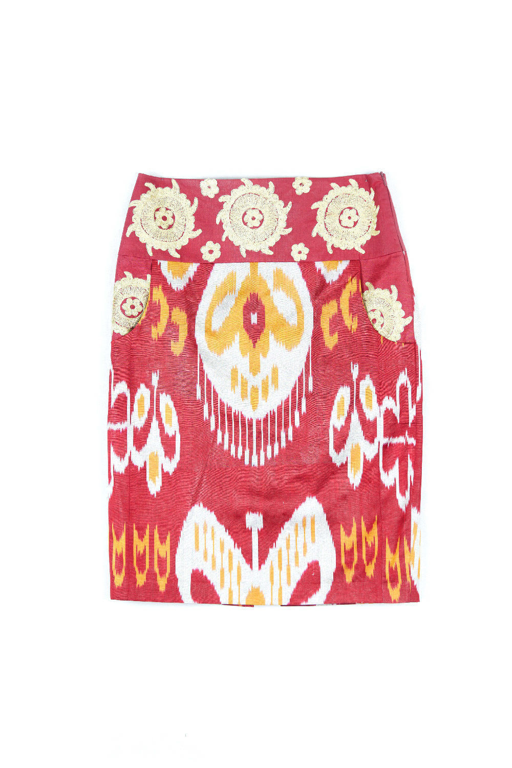 Ikat Embroidered Pencil Skirt IK345