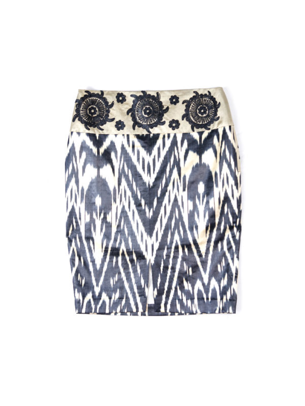 Ikat Embroidered Pencil Skirt IK550B
