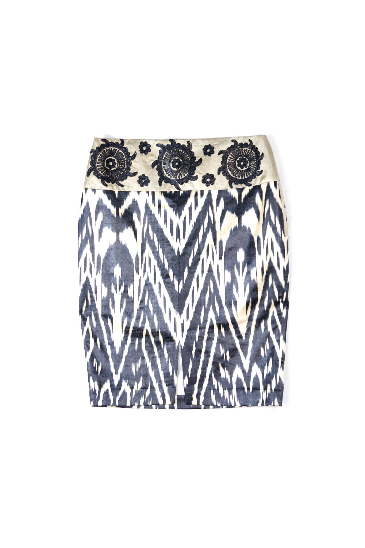 Ikat Embroidered Pencil Skirt IK550B