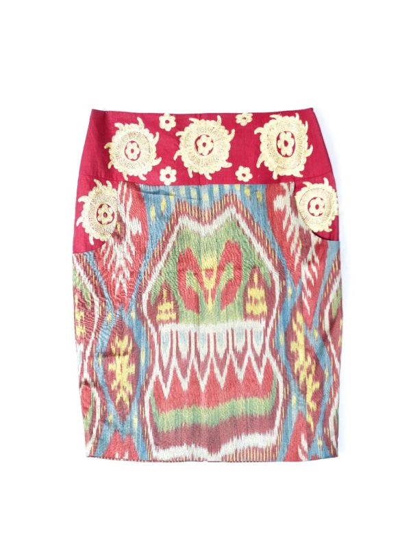 Ikat Embroidered Pencil Skirt IK045