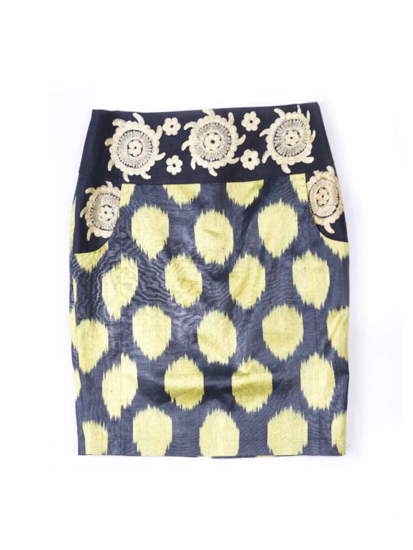 Ikat Embroidered Pencil Skirt IK051