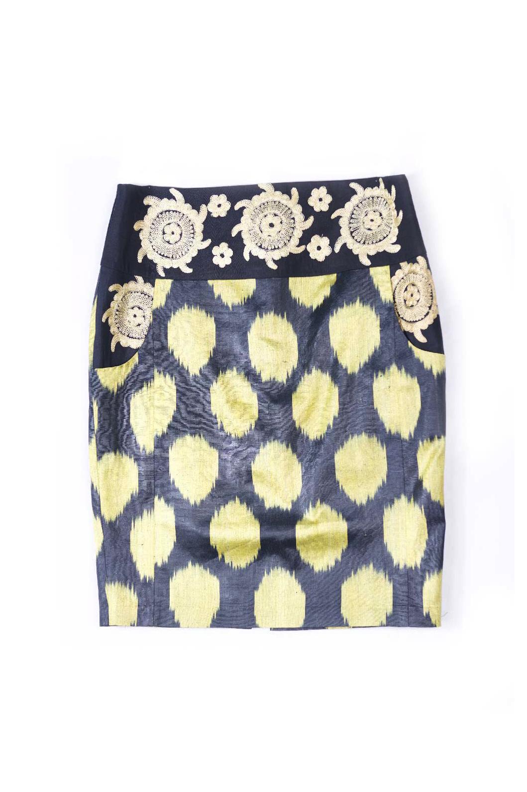 Ikat Embroidered Pencil Skirt IK051