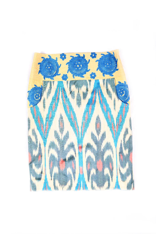 Ikat Embroidered Pencil Skirt IK543