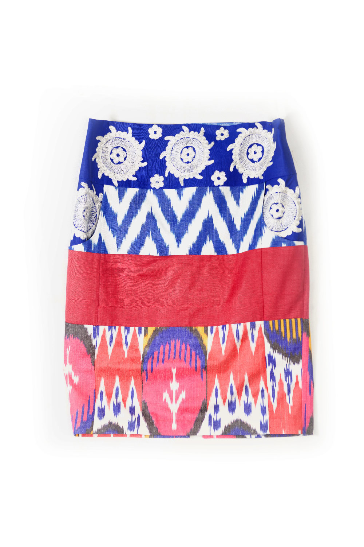Ikat Embroidered Pencil Skirt IK492 Combo