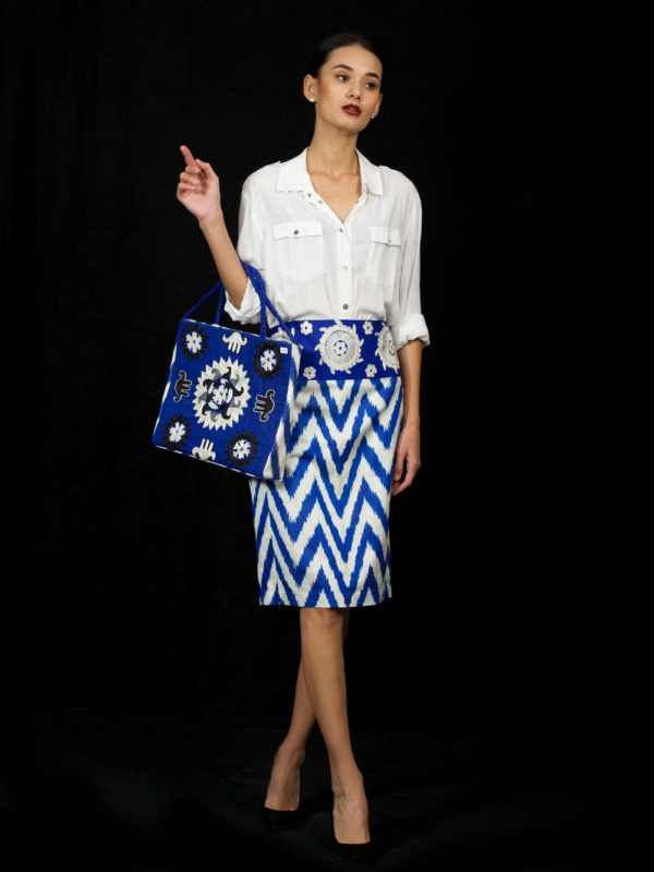 Embroidered Ikat Skirt