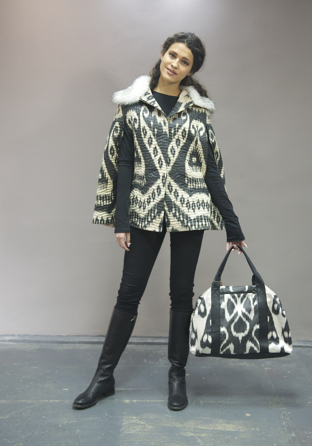 Hand-quilted ikat cape