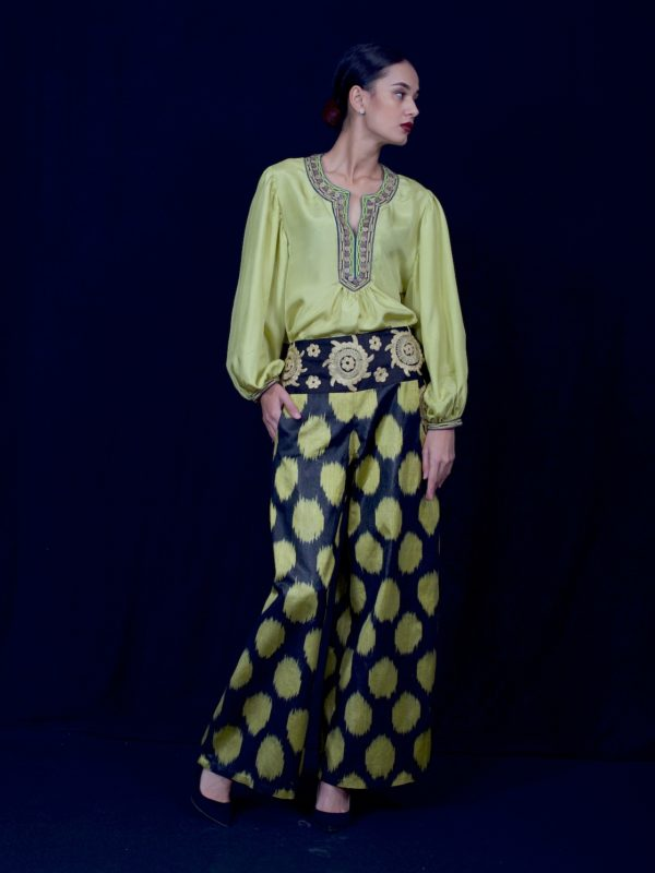 Embroidered Ikat Pants