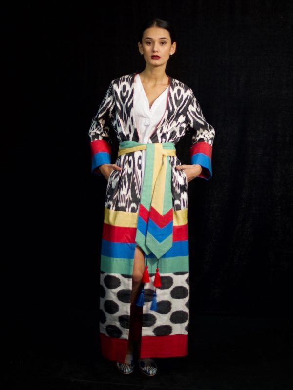 Multi colored ikat robe with sash