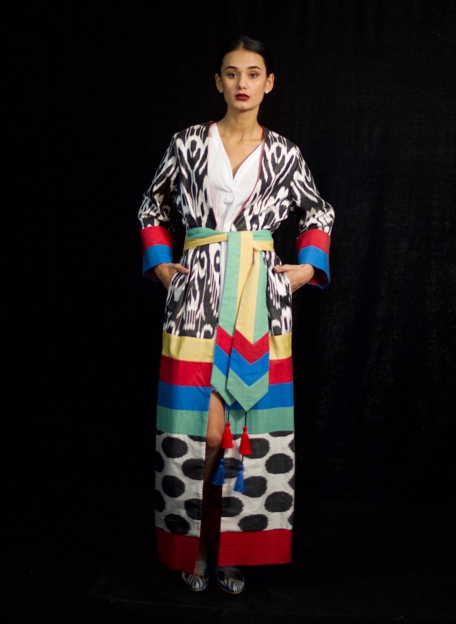 Multi colored ikat robe with sash