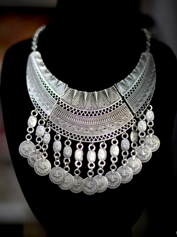 Silver-Plated Tribal Jewelry Necklace
