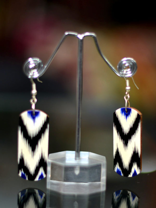Ikat Style Hand-painted Lacquered Wooden Earrings