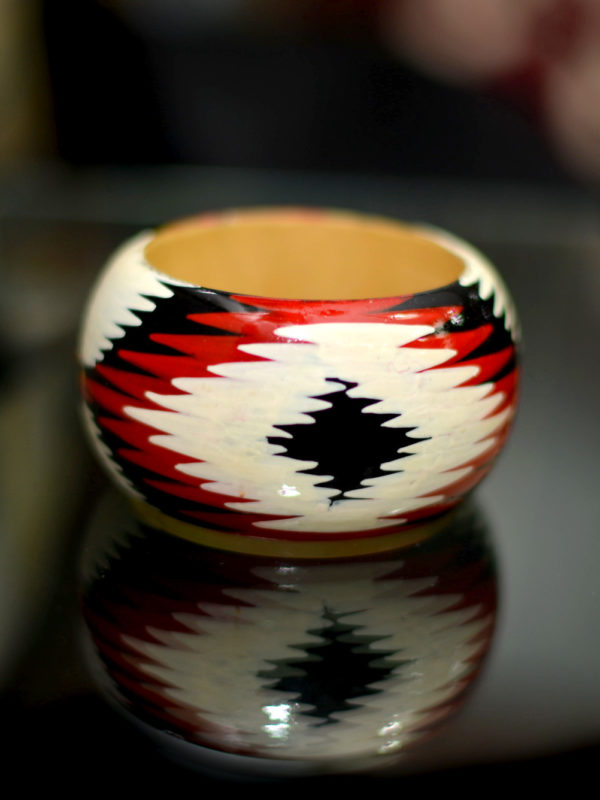 Ikat Style Hand-painted Lacquered Wooden Bangles