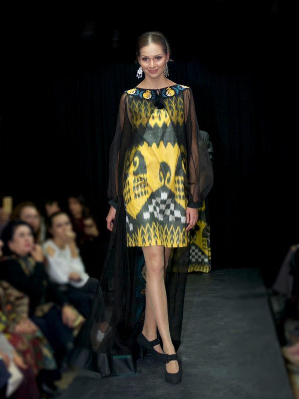 Amira Silk Dyad Ikat Evening Dress