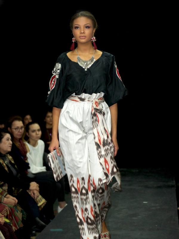 Nigora Silk Ikat Top Embroidered Sleeve Black runway