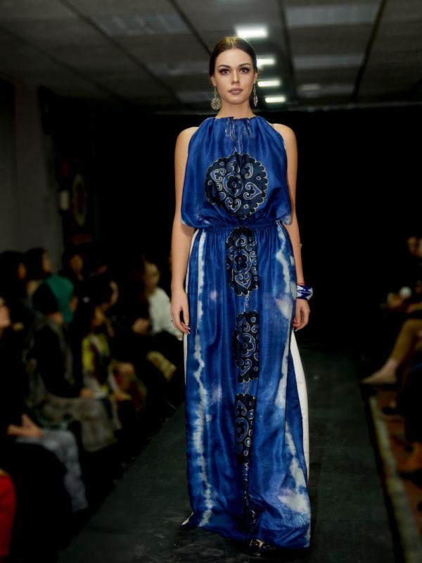 Silk Batik Maxi Dress Blue Suzani runway