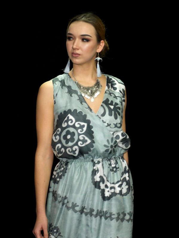 Silk Batik Maxi Dress Grey Suzani