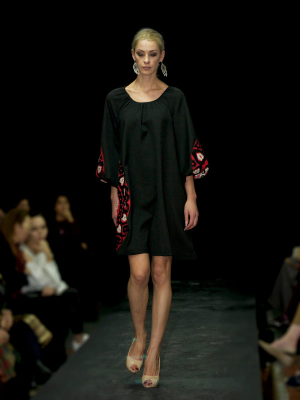 Suzani Patch Flared Dress Black Red Runway