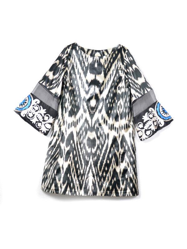 Latifa Silk Ikat Dress Black and White